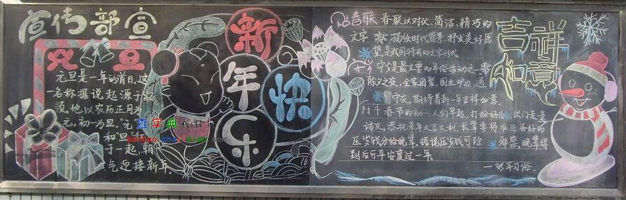 2015年元旦新年快乐黑板报设计|2015年元旦新年快乐
