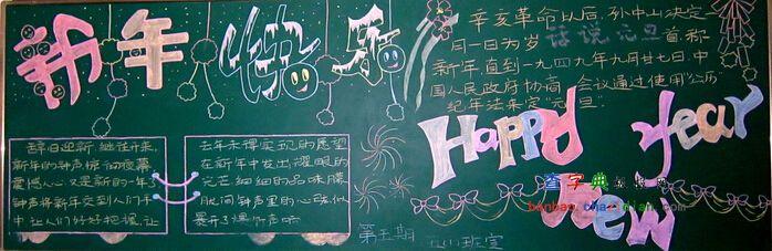 2015年新年快乐黑板报设计|2015年新年快乐黑板报图片