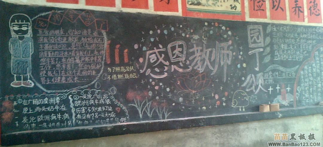 小学生黑板报设计图案大全:感恩教师