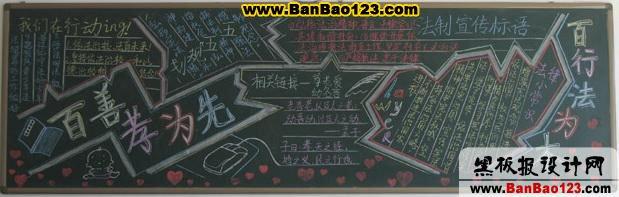 感恩黑板报主题:百善孝为先的黑板报